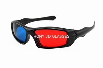 Passive Plastic Red Cyan 3D Glasses , Anaglyph Red Blue Glasses